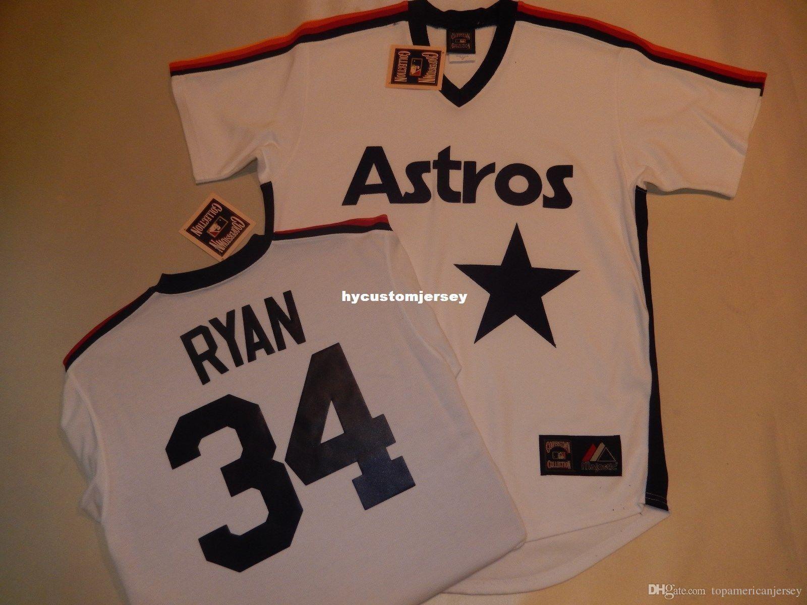 "Mens personalizado MAJESTOSA Houston # 34 NOLAN RYAN ""Reminiscência"" Jersey Jérsei NOVO Mens costurado jerseys TAMANHO Grande E Alto XS-6XL Para venda"