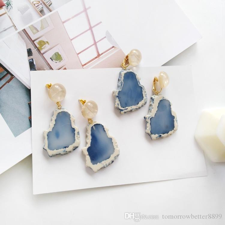 Fashion Design Acrylic Irregular Long Drop Earrings Marble Pattern Stone Handmade Geometric Resin Stud Earrings For Women