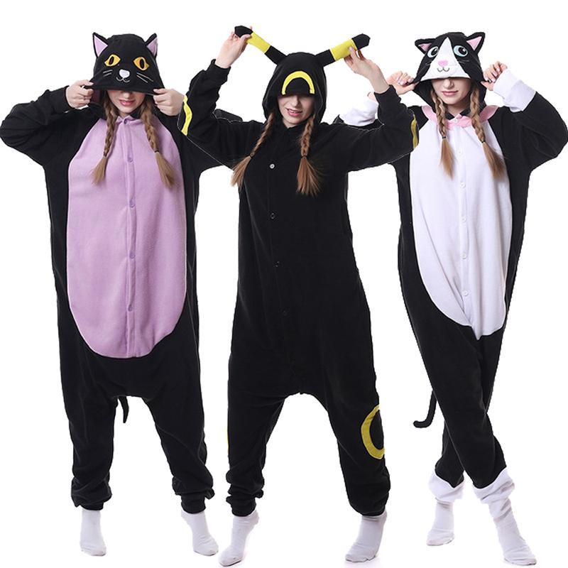 Unicorn pajamas adult animal Purple Night Cat Onesie women men couple winter pajamas suits Nightie pajamas flannel home textile Y200704