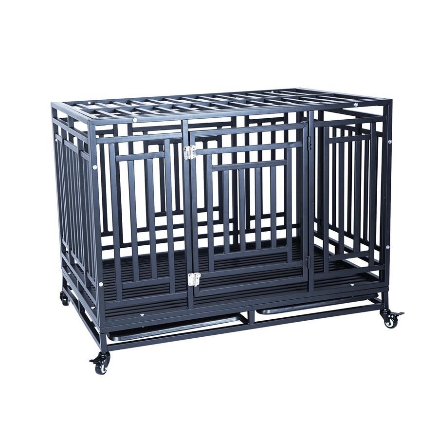 41-дюймовый Heavy Duty Dog Crate Strong Metal Питомник и клеть для больших собак, легко собрать с четырьмя колесами Durable Indoor Outdoor