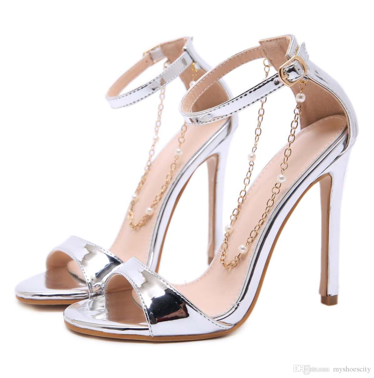 With Box Fashion Silver Gold Heels With