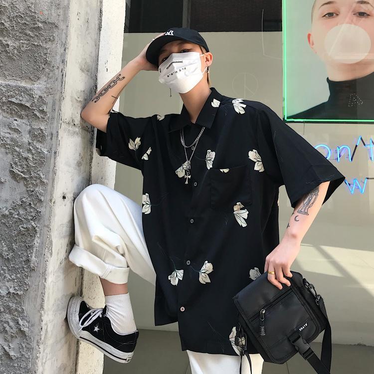 Uzun Gevşek Yaz Erkekler Gömlek Harajuku Hırka Kısa Kollu Bluz Ulzzang Koreli Giyim Giyim Vintage Streetwear
