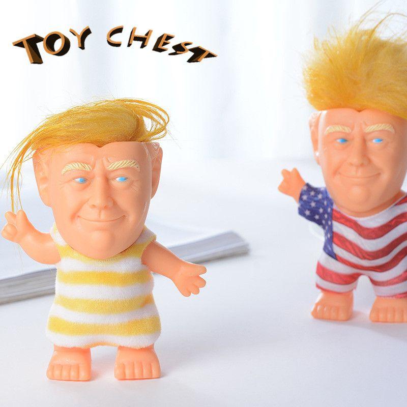 TOY CHEST Hot Funny 10cm Trump Model Figuras de acción Troll Doll Long Hair Simulation Juguetes creativos