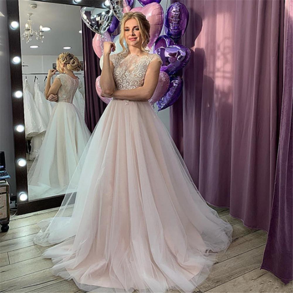 2020 Sexy Docinho Lace vestido de baile vestidos de casamento Applique Noiva frisada Flores Capela Trem vestido de Vestido de Noiva