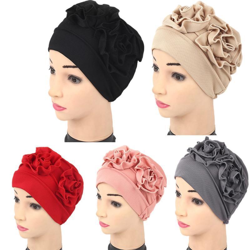 Winter Women Muslim Ruffle Chemo girl Hat Beanie Scarf Turban Head Wrap Cap Casual Polyester female flower Skullies Beanies