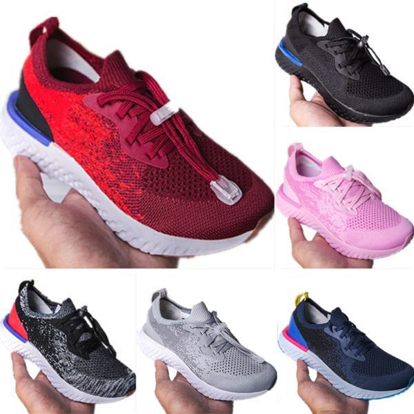 Atacado épico Reagir Primeknit respirável Mesh para Big Crianças Correndo Sneakers épico Reagir alta Elastic tecnologia bolha amortecimento Athletic Shoes