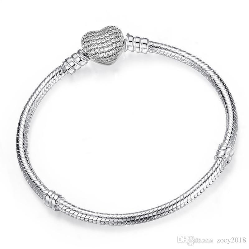 أصيلة 925 الفضة مطلي سوار صالح سوار سحر القلب تمهيد تشيكوسلوفاكيا سوار الخرز الأوروبي الفضة والمجوهرات للنساء