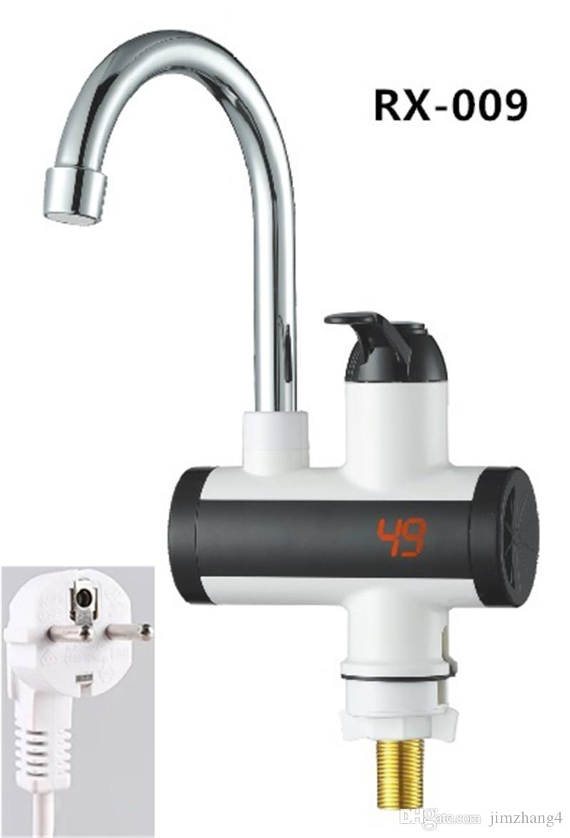 RX-009U, Grifo de agua caliente instantáneo con pantalla digital, Grifo de agua de calentamiento eléctrico rápido, Grifo de agua de calentamiento eléctrico Inetant