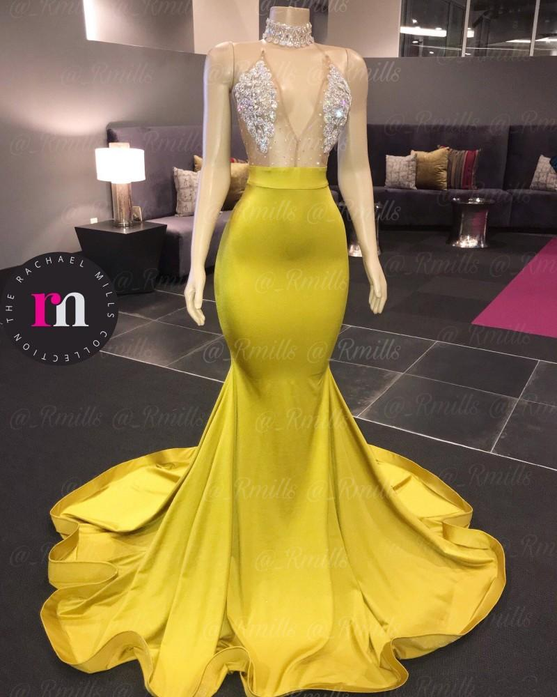 2020 Nuovo arrivo Sensay Sirena Sirena Prom Dresses Sweep Sweep Treno Crytal Formal African African Dress Prom Dress