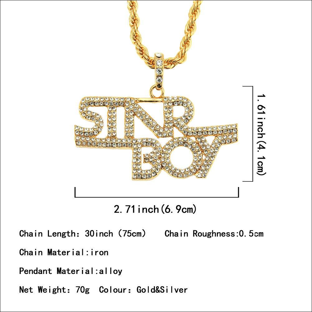 Joyería de Hip-Hop de Hombre Punk Wholesale Carta de diamante fresco Collar colgante