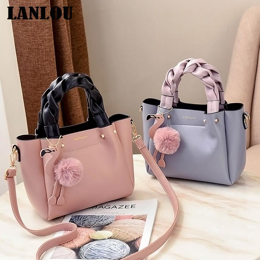 LANLOU Hairball Flamingo Shoulder bags Hot New luxury handbags women bags designer handbags Bags for women 2019 Ladies Crossbody CX200622