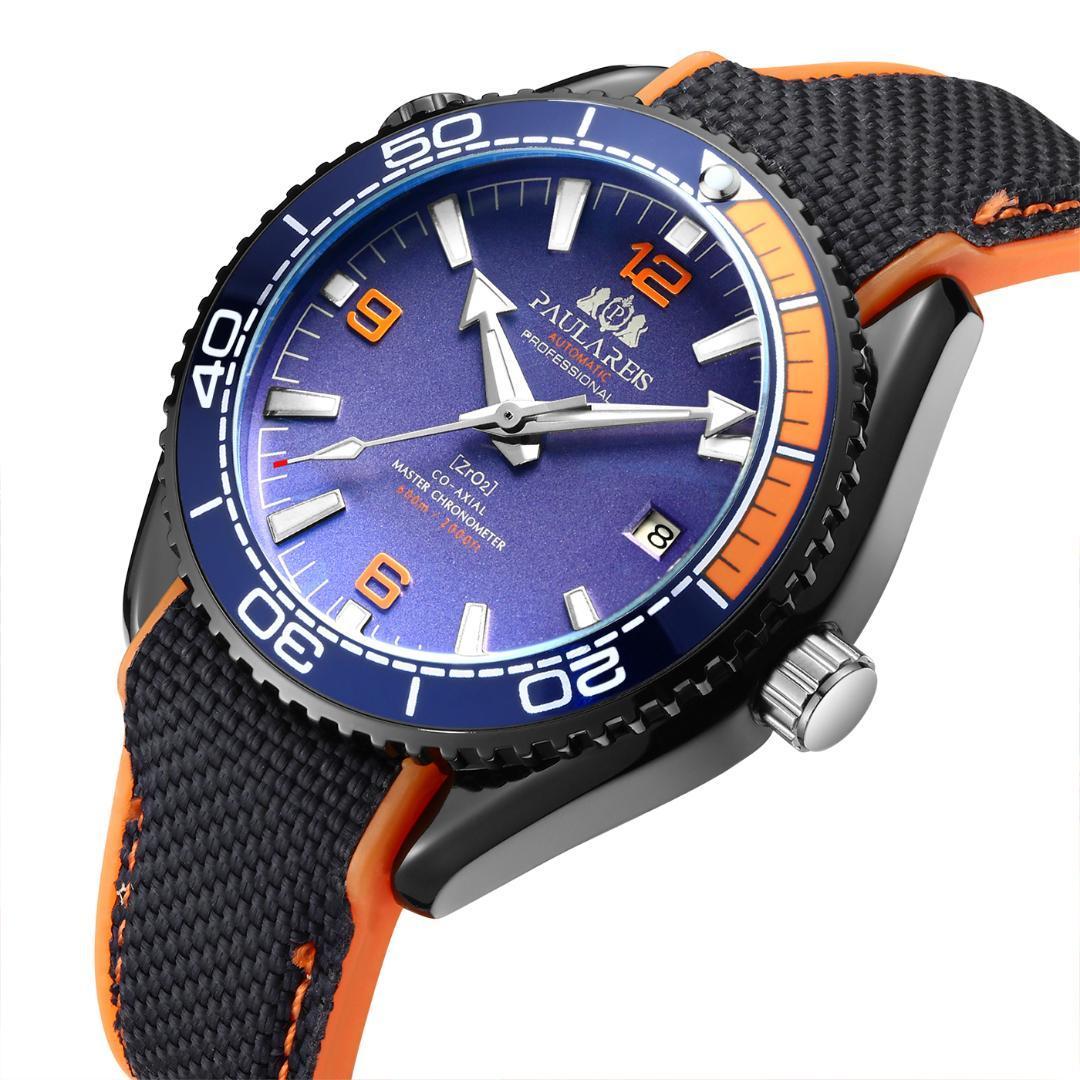 Hombres Automática viento mecánico lienzo correa de caucho Bond 007 Estilo Naranja Rojo Azul rotativo reloj clásico del bisel