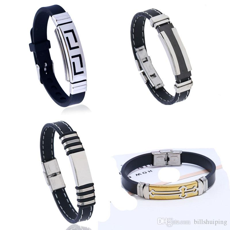 6 Styles New Simple Stainless Steel Silicone Punk Cross Bangle for Men Fashion Charm Bracelets Wristband Jewelry