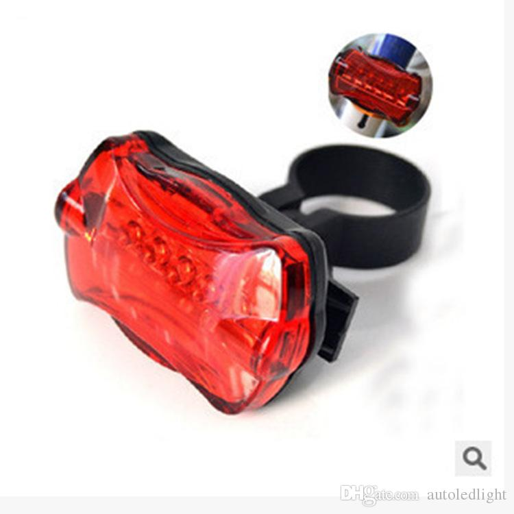 Lighting Led Red Warn Bicycle Taillight Attract In Night Riding 5 Leds Battery Power Bike Accessories Lamp