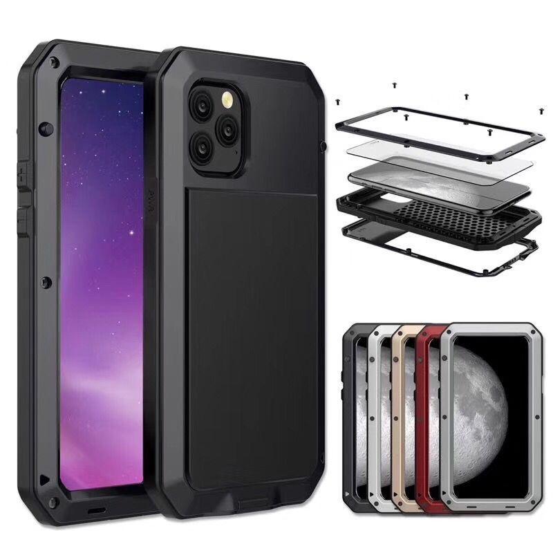 New Metal Case Para iphone 11 xr xs caso impermeável max Huawei p30 companheiro de 30 metais S20 S10 PLUS liga de alumínio tampa de vidro temperado à prova de choque