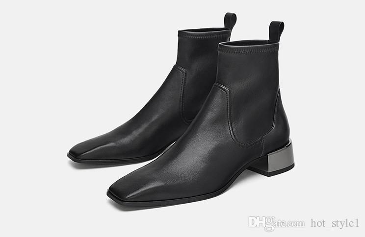 Yeni Stil Kadın Kare Kafa Tıknaz Topuk Elastik Göstermek Ince Ayak Bileği Çizmeler Siyah Metal Dekorasyon Kısa Çizmeler Üzerinde Kayma Boyutu 34-40 Ücretsiz Kargo