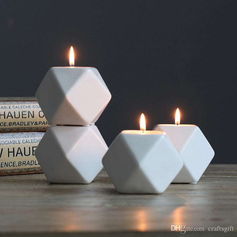 Nordic Ceramic Candle Holders Creative Vintage Home Crafts Decoration Wedding Centerpieces Bougeoir Geometric Porcelain Candlestick