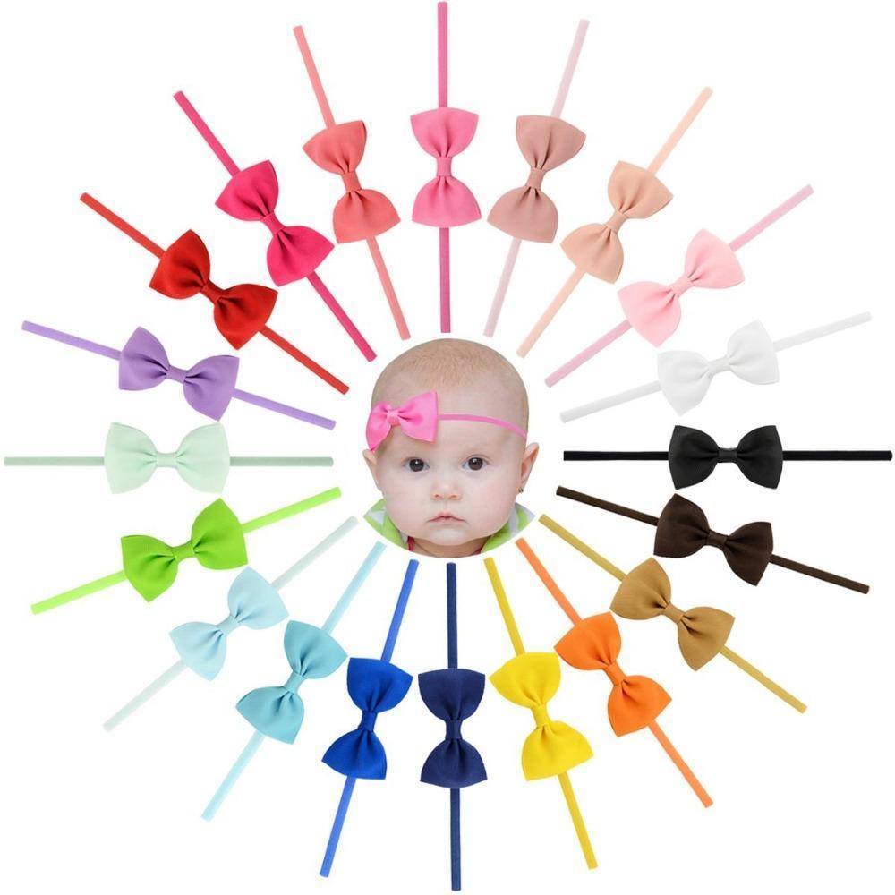20 шт детские девушки дети Grosgrain лента для волос Лук тонкий ободки аксессуары для волос для младенцев малышей мода головной убор hairband