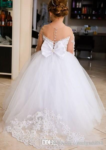 bianco Nuovo Flower Girls abiti senza maniche pavimento pieno pizzo lunghezza gioiello collo per le nozze di sfera di compleanno di spettacolo si veste bambini da ballo