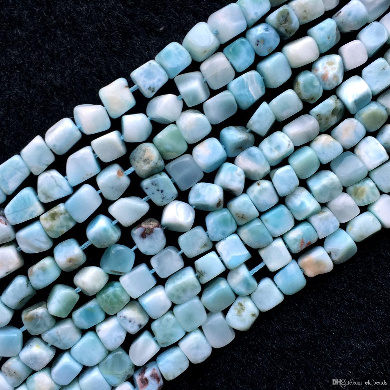 """Dominicana 자연 정품 흰색 파란색 Larimar 큐브 너 겟 무료 양식 필렛 불규칙 한 조약돌 느슨한 구슬 보석 맞추기 6-7 밀리미터 15.5 """"05818"""