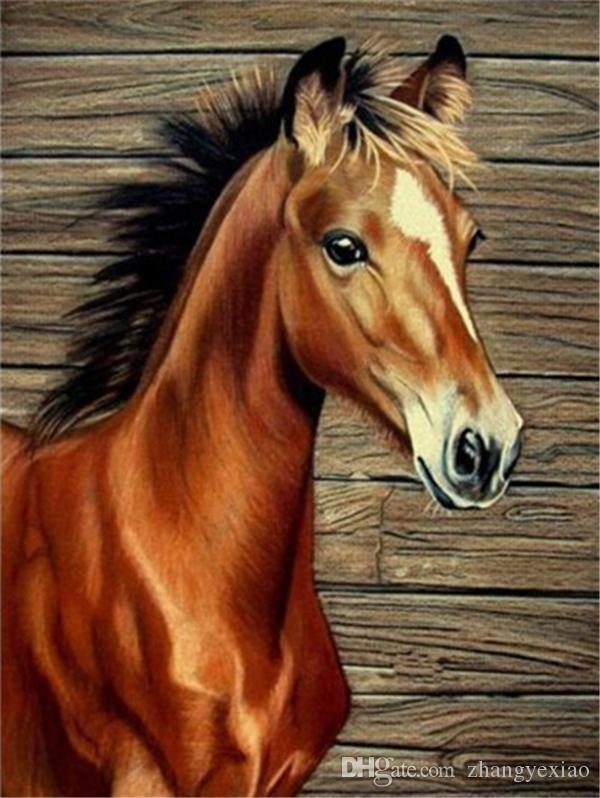 Diy pittura diamante croce Kit punto strass mosaico decorazioni per la casa cavallo marrone regalo animale pieno di diamanti roundsquare 5D ricamo BB1341