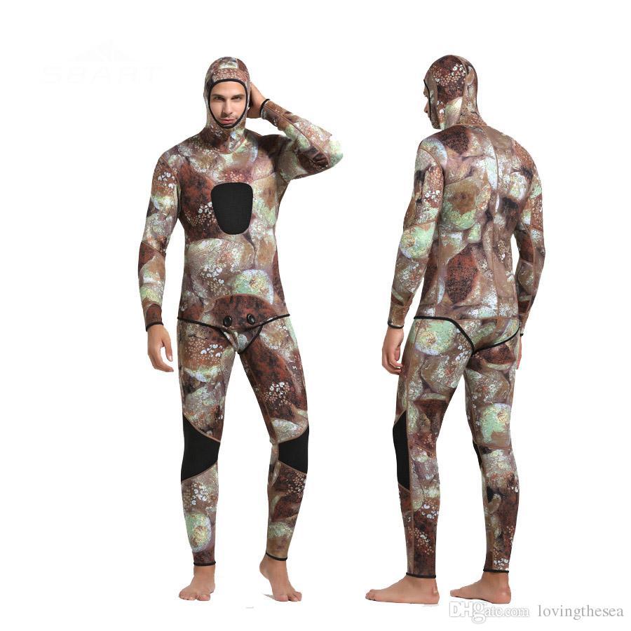 SBART New 3mm Hommes Camouflage Combinaison en deux pièces avec équipement de plongée à capuchon pour la plongée sous-marine Chasse sous-marine Chasse Sous-Marine