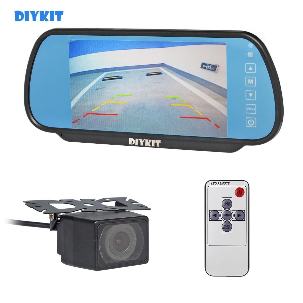 "DIYKIT 7"" Ver LCD retrovisor monitor do carro monitor + IR Night Vision Rear Camera Car Estacionamento Assistência Kit Sistema"