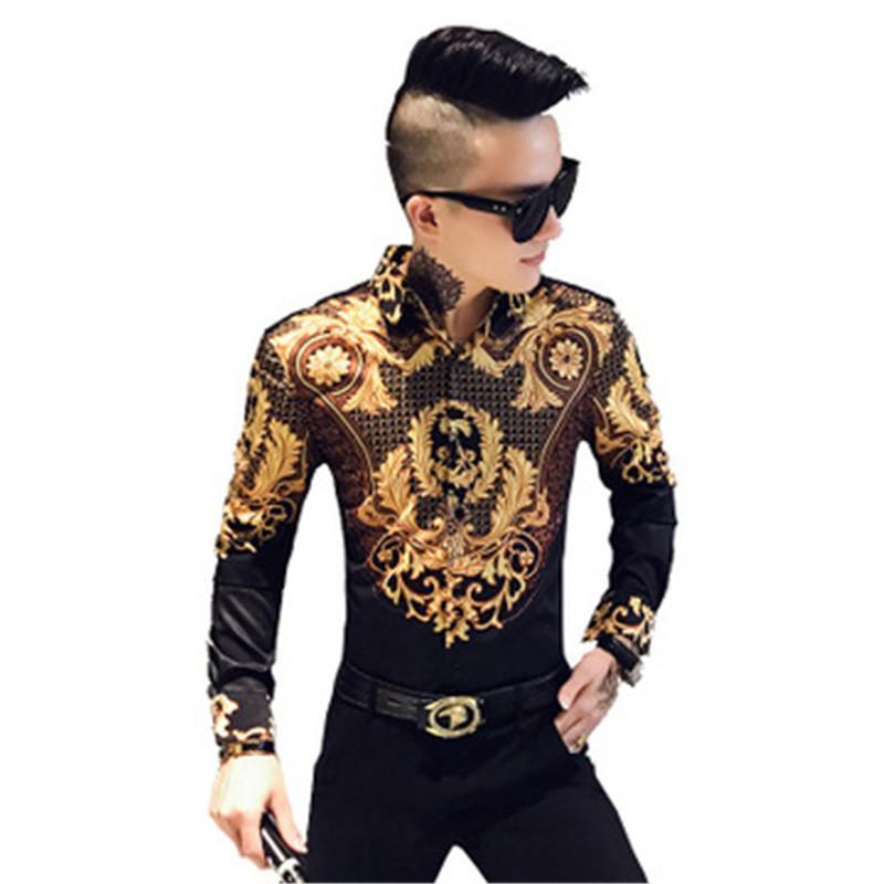 Or luxe arabe Imprimer Chemise noire d'or rétro Cartoon manches de haute qualité Party Boîte de nuit Jeune Gentleman Streetwear Chemisier super