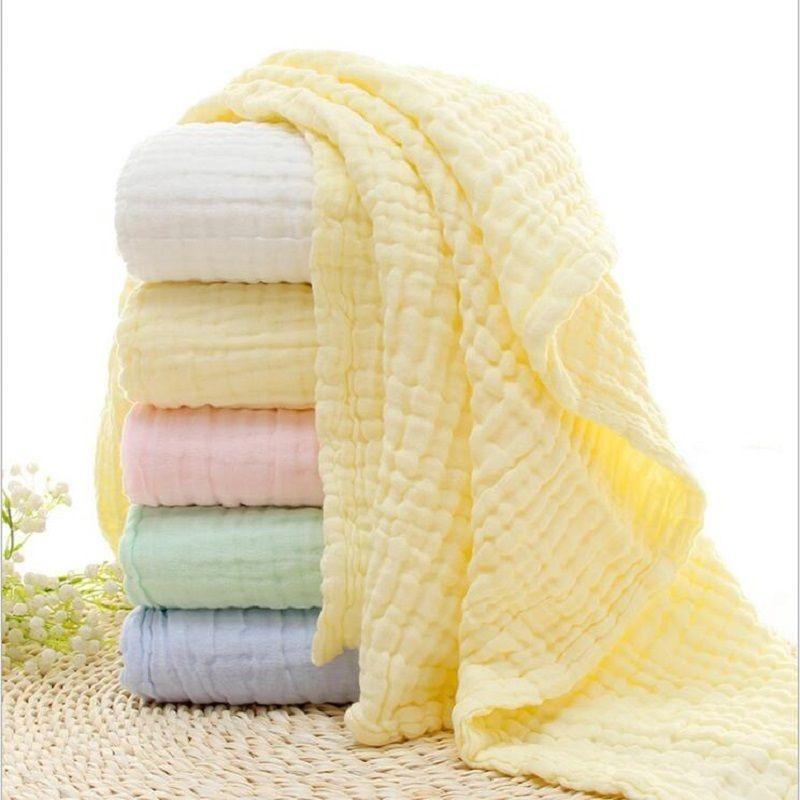6 طبقات الصلبة لون الطفل حمام منشفة موسلين 100٪ مناشف القطن الطفل حديثي الولادة امتصاص بطانية قماط التفاف الفراش 105 * 105 cm y200109