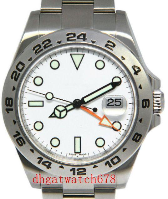 Topselling Luxus Herrenuhr 42mm Explorer II 216.570 Edelstahl weißes Zifferblatt Datum 42mm Automatik Herrenuhr