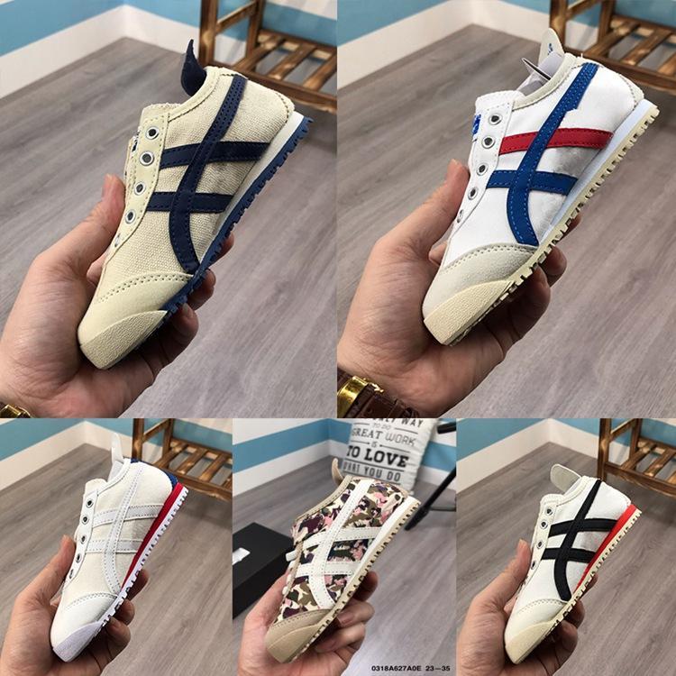 أطفال MEXICO 66 PS الاحذية بنات بيج بويز MEXICO 66 SLIP-ON ريشة GRAY CREAM أحذية أسود MID الأزرق الذهب الأبيض النمر حذاء رياضة الولايات المتحدة 11C-3Y