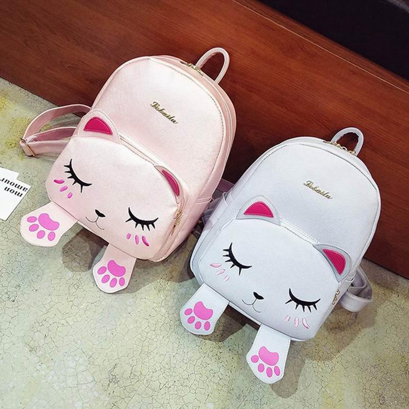 1 PC Girls Cute Cat Backpacks Children Kids Primary School Double Shoulder Bag Cartoon Lovely Cat PU Leather Backpack Dropship