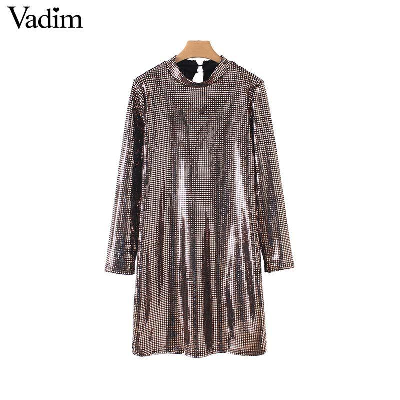 Vadim mujeres sexy brillante con lentejuelas mini vestido de manga larga vaina elástica mujer casual vestidos de fiesta sólido elegante vestidos QB076