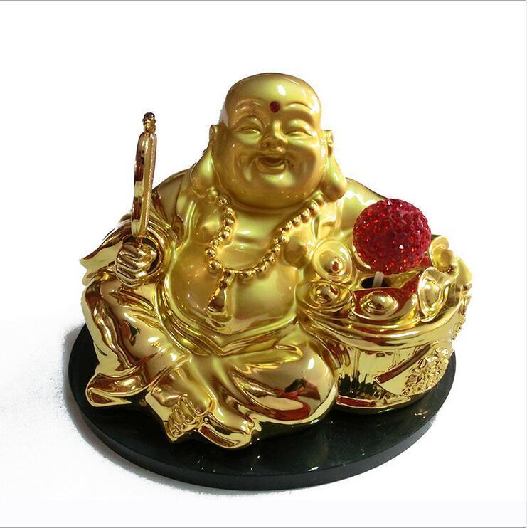 2019 chapado en oro de la decoración del coche rotatorio solar de Buda perla de la nueva Seat de perfume Decoración Buda