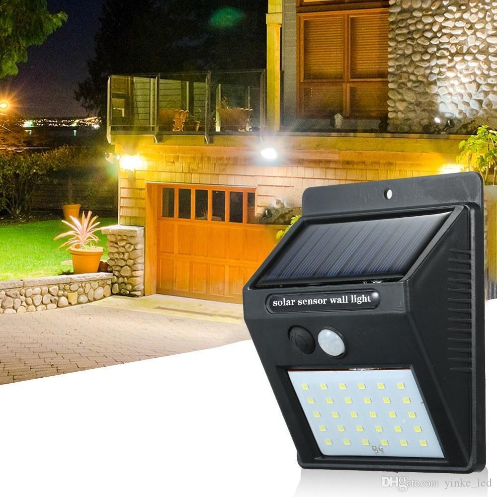 30-64 LED lampe de mur de lumière solaire pir capteur de mouvement extérieur étanche jardin LED lumières solaires lumières solaires peluche pelouse lumières murales