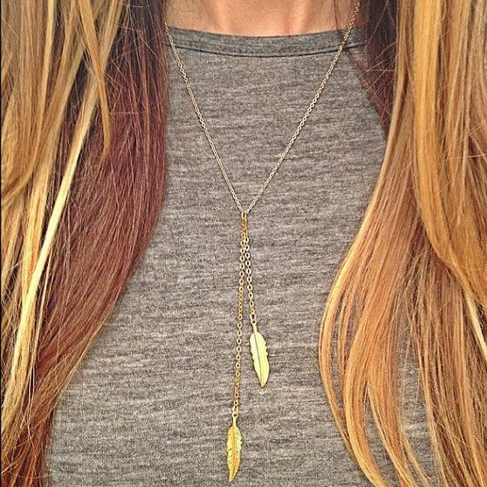 2019 Hot Simple and Modern Series Metal Double Leaves Gold Leaves Simple Short Necklace Chain Chain Couple Love Necklace