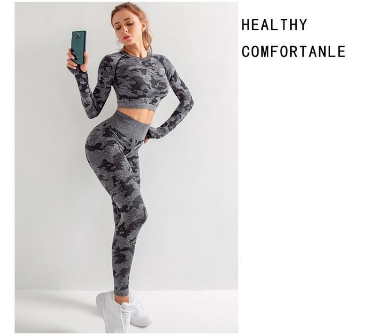 2020 mujeres ropa deportiva Yoga Set Fitness gimnasio ropa correr tenis camisa + Pantalones Yoga Leggings Jogging entrenamiento deporte traje 20042001W