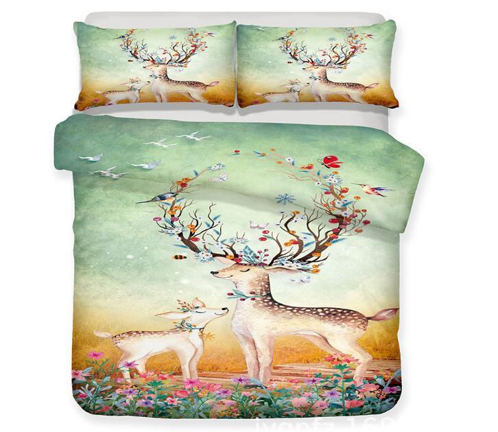 3D Elk Bedding Set Dreamlike Romantic Elk Deer Printed Duvet Cover Set Bed Linen Duvet Cover Pillow Case