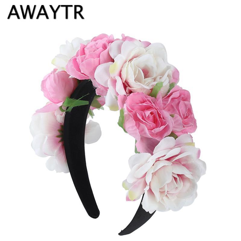 AWAYTR 2020 neue Frauen-Mädchen-Hochzeit Stirnband-Kind-Partei-Blumengirlanden Blumenkrone RoseWreath Haarreif Rosa Haarschmuck