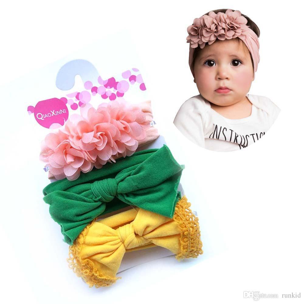 12 renk Bebek Kız Knot Bow Bantlar Turban 3adet Bebek Elastik hairbands Başlık Çocuk Düğüm Headwraps çocuklar Saç Aksesuarları