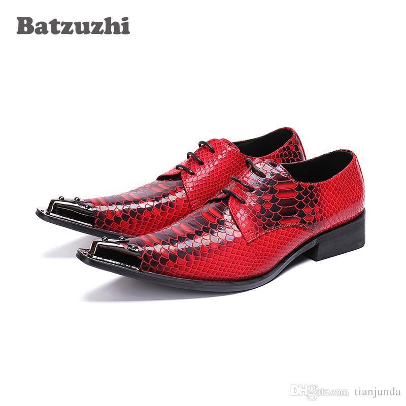 Batzuzhi occidentale moda uomo scarpe scarpe modello in pelle vestito scarpe uomo rosso da sposa uomo scarpe Zapatos Hombre punta in metallo lace-up