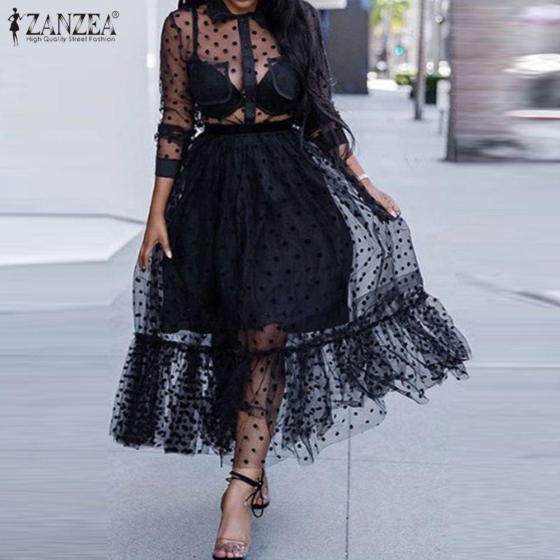ZANZEA الصيف مثير انظر من خلال شبكة شفاف شير النساء اللباس رقصة البولكا نقطة الرباط فستان الشمس عارضة الكشكشة تنحنح الأسود فستان رداء