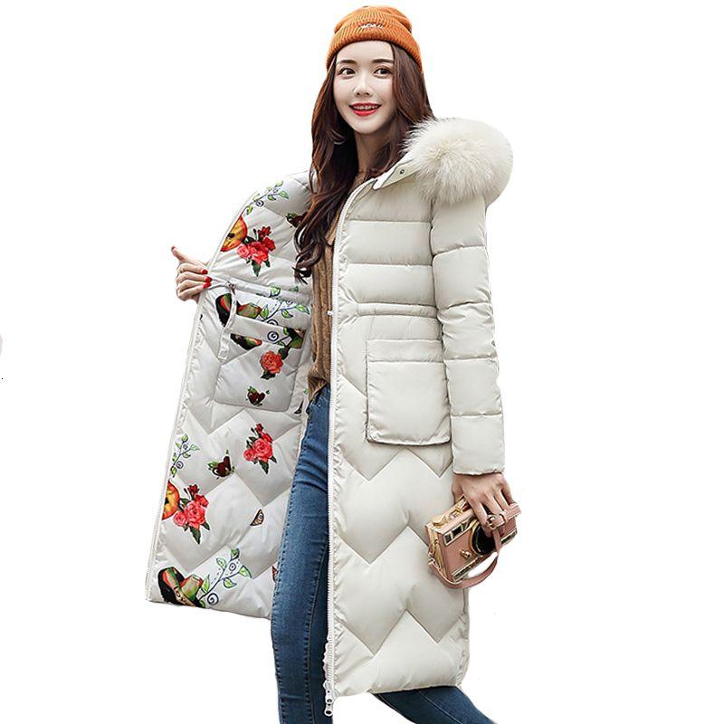 Les deux côtés peuvent être portés de 2019 Femmes Veste d'hiver Nouvelle arrivée avec de la fourrure à capuche longue manteau en coton rembourré Parka Women Parkas