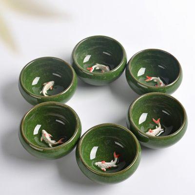 2019 Green Kung fu tea set (6 pieces) Ceramic Tea cup chinese travel set Coffee cups tea