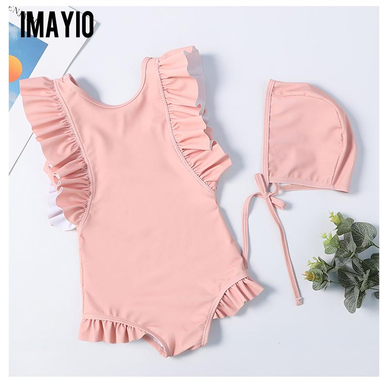 Imayio Children Ruffle Swimsuits Baby Girls One-piece Swimsuit 2019 Bathing Suit for Kids Bodysuit