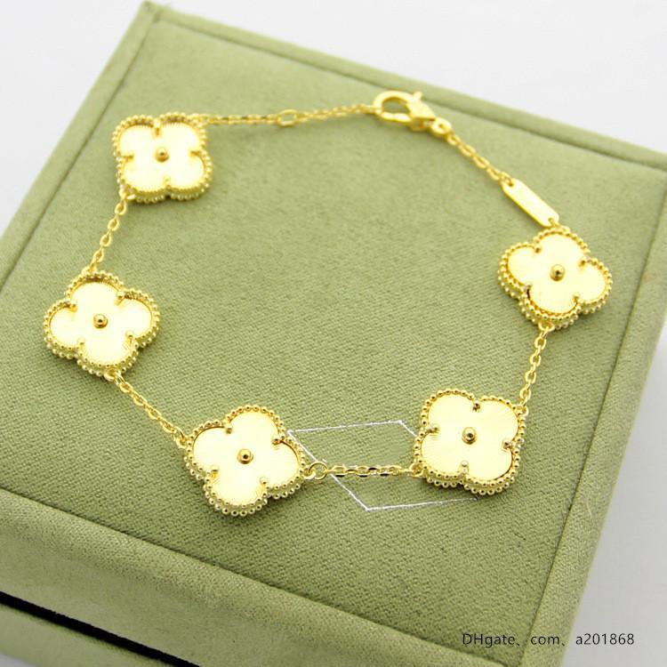 Cinq nouveaux quatre feuilles texture or fleur Bracelet commerce extérieur femmes cinq bracelet fleur jeu