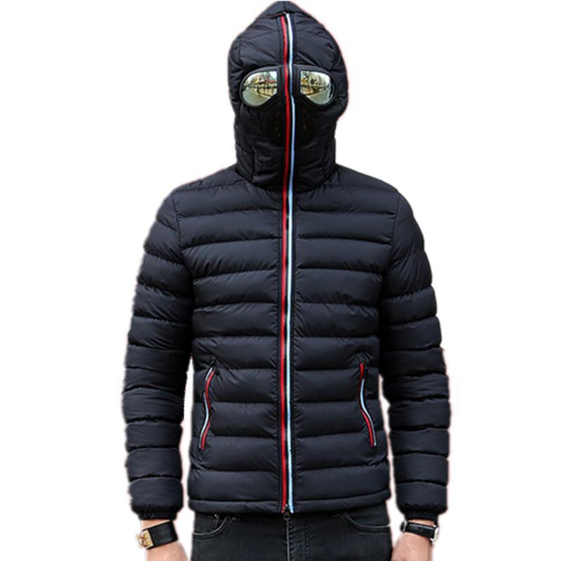 Мужские Подогреть Camperas Детей ветрозащитного ватник зимних куртки Мужчина Parkas с очки проложенного с капюшоном пальто