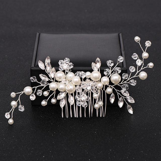 Gelin başlıkiçi Kadınlar Düğün Saç Takı süs için Trendy Gümüş rengi İnci Kristal Düğün Saç Combs Saç Aksesuarları