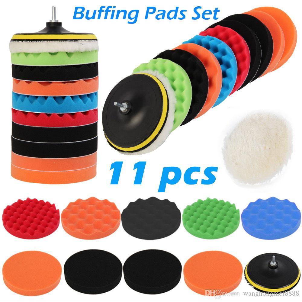 11 teile / satz 3/4/5/6/7 zoll polierkissen wachs polierung polieren schwamm pads bohre adapter kit für auto auto polierer wartung