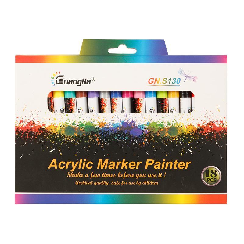 Gn 12/18 الوان 0.7 Mm Acrylic Pain Pain Marker Pen Art Marker Pen for Ceramic Rock Glass Porcain Mug Wood Framework Painting